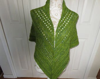 Woman's hand knit varigated green shawl