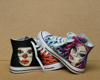 CUSTOM WEDDING CONVERSE Chucks. Converse customized. Painted shoes wedding party gift. Women's wedding shoes.