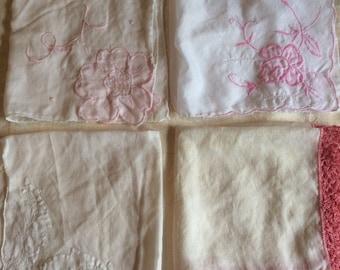Four Vintage White and Pink Handkerchiefs/Wedding Handkerchiefs