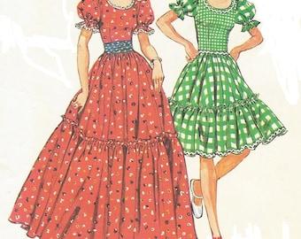 1970s Womens Square Dance Dress & Cummerbund Simplicity Sewing Pattern 6452 Size 10 Bust 32 1/2 UnCut Vintage Sewing Patterns