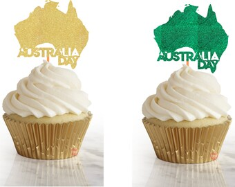 Australia Day map Cupcake toppers, party decor