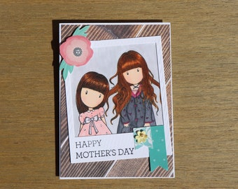 Happy Mother's Day • Mother- Daughter• Sisters • Handmade Card • Gorjuss Girl Card