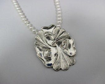 Gingko Leaves .999 Fine Silver Pendant Freshwater Pearl Necklace