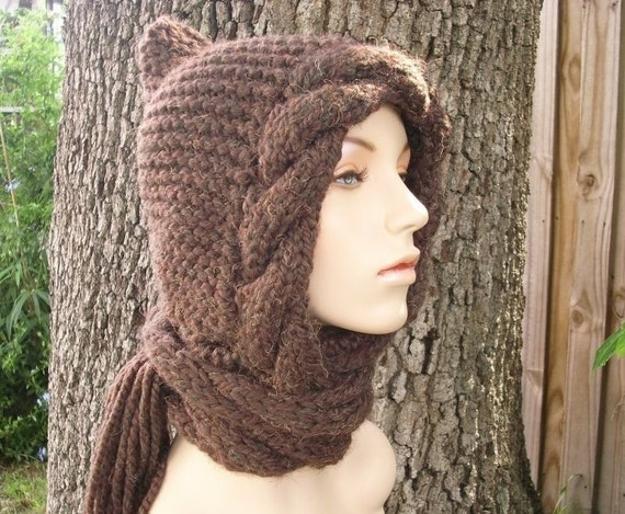 Brown Cable Hooded Scarf Hat - Brown Knit Hat Womens Hat - Brown Scarf Brown Hat Brown Ear Flap Hat Brown Cable Scarf Womens Accessories