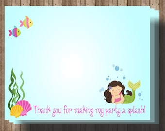 Mermaid Thank You Card / Instant Download Printable Digital File/ 6x4 Thank You Card/ Girls Mermaid Birthday Party/ Matching Items Available