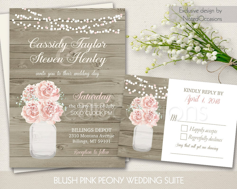 Rustic Mason Jar Wedding Invitations Country Blush Pink Peony
