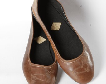 Ballet pumps - Dachshund leather handmade ballet flat shoes doglover