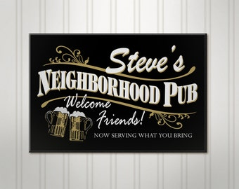 "Large Personalized Beer Sign, Neighborhood Pub, ManCave Bar Sign, Pub Sign, 18"" x 24"""