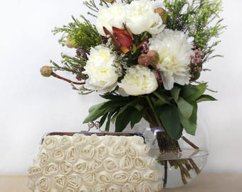 Rosebuds Floral Clutch in Dark Champagne | Gift for Brides, Bridesmaids and Mothers