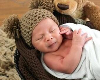 Brown Newborn Teddy Bear Crochet Beanie Photo Prop