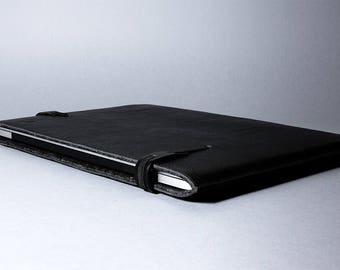 "New 13"" MacBook Pro folio leather sleeve padded wool felt slim fit MacBook 13"" Pro Retina 13 Air leather sleeve case laptop cover"