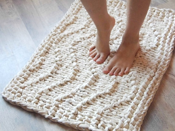 Wave Chunky Soft Natural Cotton Hand Knit Rope Rug Rectangular