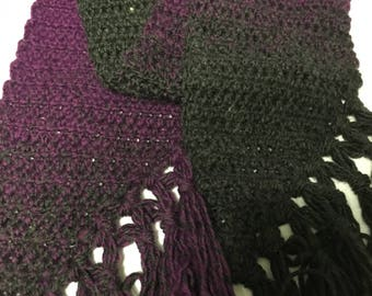 Gray and Purple Crochet Scarf