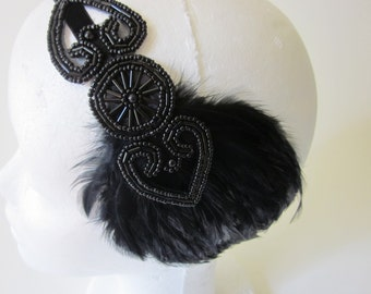 Black Flapper headband, black feather headpiece, 1920s headband, beaded fascinator, great gatsby dress flapper headband, Art Deco fascinator