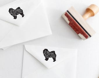 Chow Chow Return Address Stamp, Housewarming & Dog Lover Gift, Personalized Rubber Stamp, Wood Handle