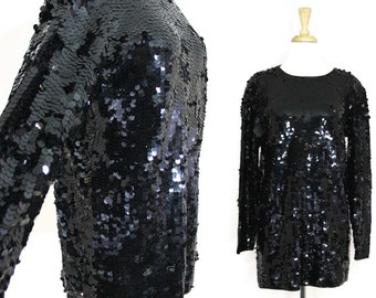 Black Sequined Tunic Vintage