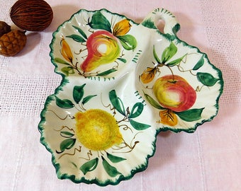 Vintage Italian pottery  hand painted fruit and leaves divided dish