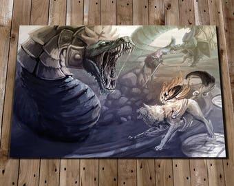 Okami Amaterasu - Okami Art - Amaterasu Art Print - Okami Painting - Okami Print - Orochi Picture Print - Japanese Art