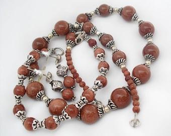 Goldstone Necklace Bracelet Earrings 3 Piece Set