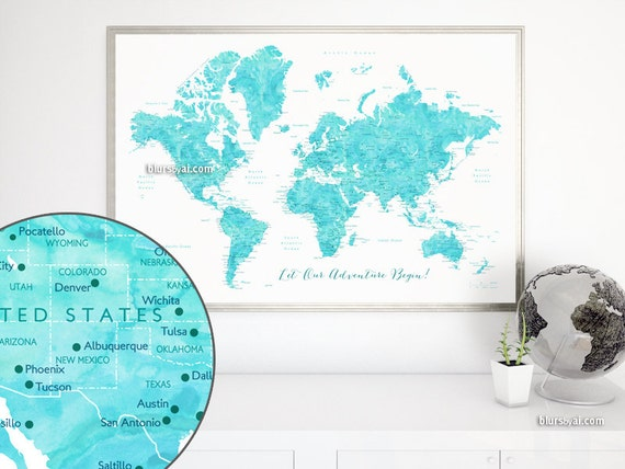 Printable world map for making a diy push pin map pin your travels printable world map for making a diy push pin map pin your travels aquamarine watercolor world map printable diy gift idea map141 035 from blursbyaishop gumiabroncs Gallery