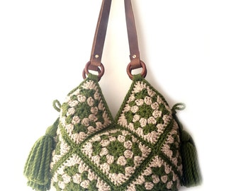 Large shoulder bag hippie crochet handbag big carryall large tote bag boho crochet bag large crochet purse with tassel women big purse boho