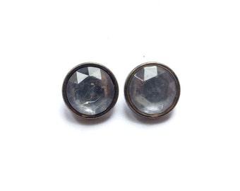 2 Rhinestone & Antique Silver Vintage Shank Buttons, 15mm