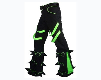 Spikey Pants : Black trousers with soft spikes, UV active piping and inserts, slim fit, leg zips. Rave pants, festival pants. punk pants