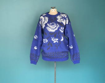Floral Mohair 80s Sweater, Flower Sweater, Slouchy Sweater, Chunky Sweater, Rose Sweater, Vintage 80s Sweater, Medium, TaraLynEvansStudio