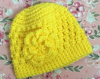 Vintage Yellow Baby Hat with Big Flower- Handmade, Crocheted