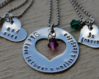 Mothers Day Gift-Mother Daughter Jewlery Hand Stamped Birthstone Heart Necklace-The Love Between Mother and Daughter is Forever &Ever