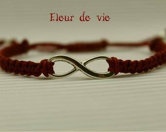 INFINITY symbol BORDEAUX macrame bracelet