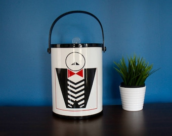 Stimuleye Buffet Butler Vintage Plastic Rubber Coated Ice Bucket 1980s Graphic Decor