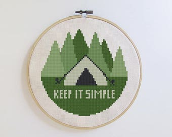 Camping cross stitch pattern - Keep it Simple - PDF - Instant download