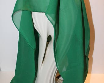 Vintage Green Scarf, Long Green Scarf, Woman's Scarf, Polyester Scarf