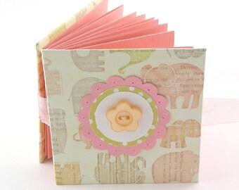 Tumbling Elephants II Mini Photo Book, 2x3 wallets - rose, yellow, taupe