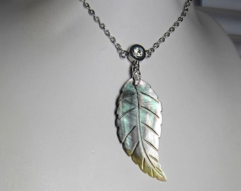 Hand Carved Mother of Pearl on a Hypoallergenic Chain