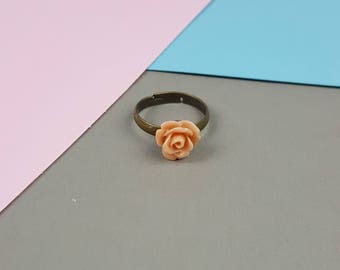 Peach Orange Rose Ring with adjustable antique bronze band