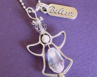 Schutzengel Swarovski Kristall Perle Engel Anhänger Charm Halskette glauben Mädchen zwischen Teen Kommunion Konfirmation Schmucksachegeschenk