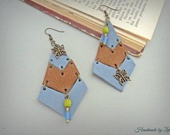 Long light blue geometric leather earrings, brown leather gypsy earrings, leather earrings, butterfly earrings, boho blue earrings, earrings
