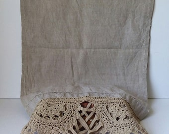 """Flax Linen Table Runner with Handmade Lace and Tassels 60"""" long x 16.5"""" wide ESTATE SALE"""