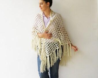 Vintage Off White Crochet Shawl /1970s XL Wool Shawl