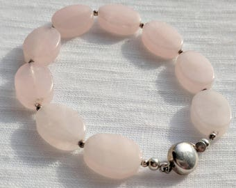 60| Rose quartz and Sterling Silver bracelet
