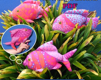 "Sewing Pattern PDF Finger Pocket Fish ""Net All 3"" Puppet Style Action Toys for Children Full Sized Pattern pieces & Instructions."