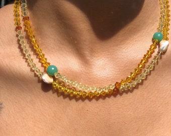 SWARVOSKI BEAD NECKLACE, Dainty gemstone handmade jewelry, Chic spring summer fashion #004