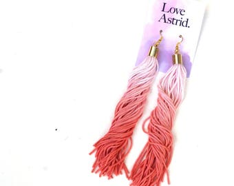 Hand Dyed Ombre Coral Tassel Earrings For Her Très Chic Style, Pink Statement Earrings Boho Chic Coachella Festival Earrings / CLOUD