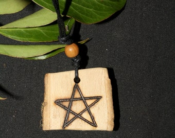 English Ivy Wood Pentagram Pendant - Overcoming Challenge - Pagan, Wicca, Witchcraft, Pentacle