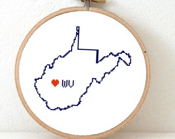 WEST VIRGINIA Map Cross Stitch Pattern. West Virginia art pattern. West Virginia ornament pattern with Charleston. WV decor. Wedding gift.