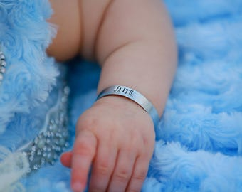 Custom Hand Stamped Baby Bracelet - Personalized Bracelet - Baby Cuff Bracelet - Personalized Kids - Baby Shower Gift - Baby Gift - New Mom