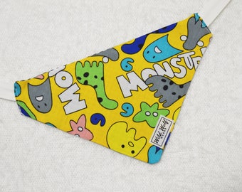 The funny monsters, reversible bandana for dogs and cats. Tie on dog bandana
