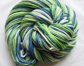 RTS Hand dyed yarn, blue / green / white, variegated yarn, bulky weight, superwash merino, 100g